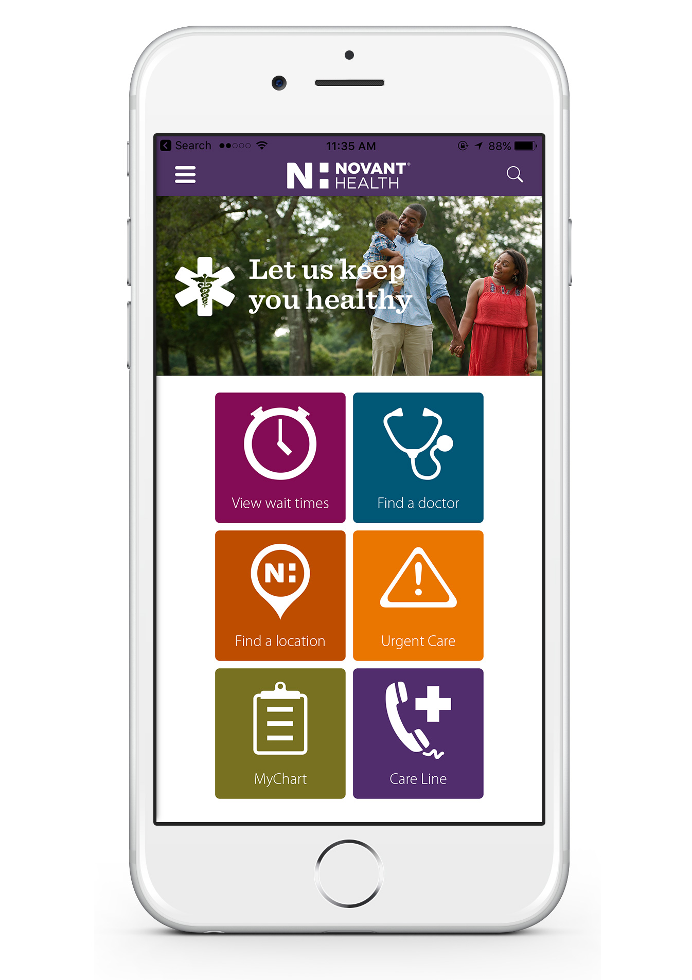 Cell phone image showing screen of Novant Health app