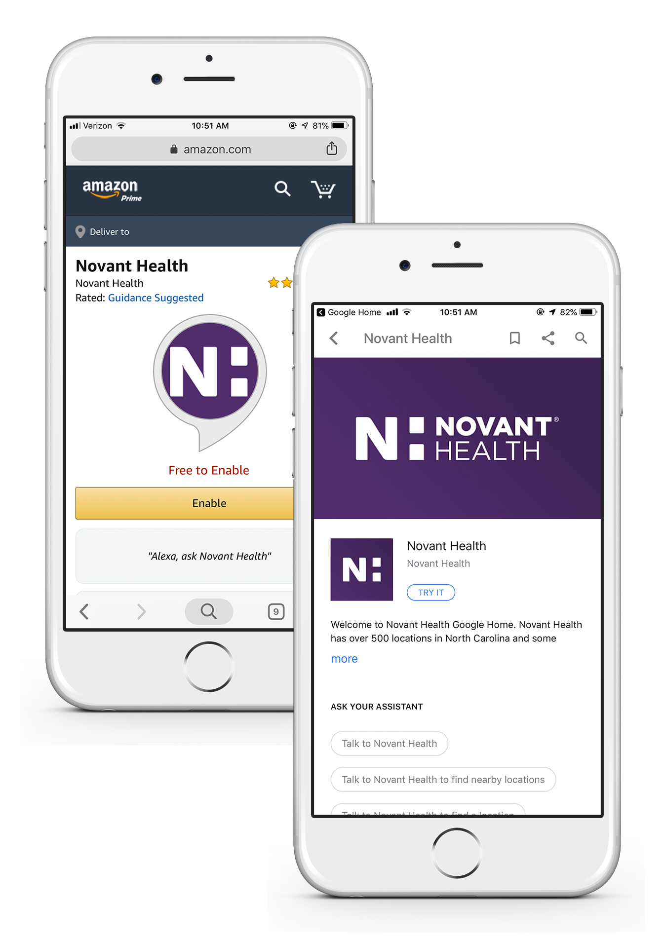 Amazon Alexa skill and Google Home action for Novant Health